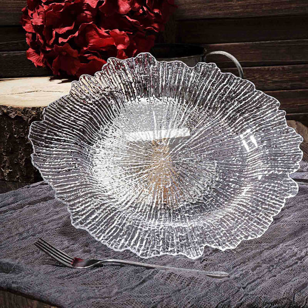 "6 Pack - 13"" Round Reef Clear Plastic Charger Plates"