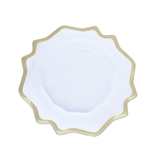 6 Pack | 13 Round Clear Plastic Charger Plates with Gold Scalloped Edge