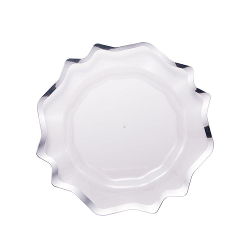 6 Pack | 13 inch Round Clear Plastic Charger Plates with Silver Scalloped Edge