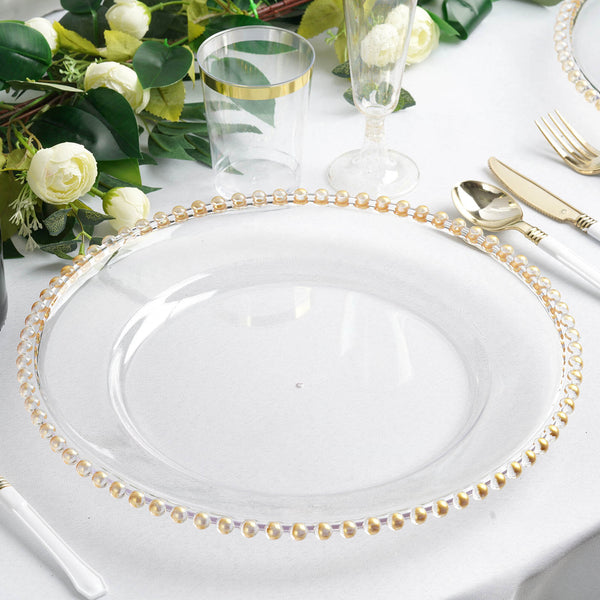 "6 Pack - 12"" Clear Acrylic Round Charger Plates With Gold Beaded Rim"