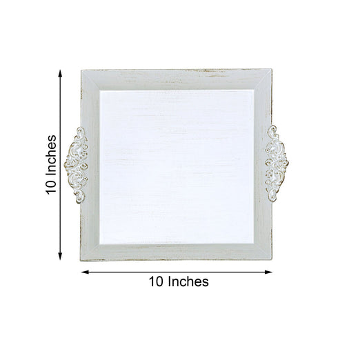 "2 Pack | 10"" Antique White Square Decorative Acrylic Serving Trays With Embossed Rims"