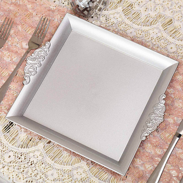 "2 Pack | 10"" Silver Square Decorative Acrylic Serving Trays With Embossed Rims"