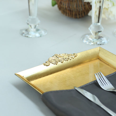 "Decorative Plastic Serving Trays | 2 Pack | 14"" x 10"" Rectangle 