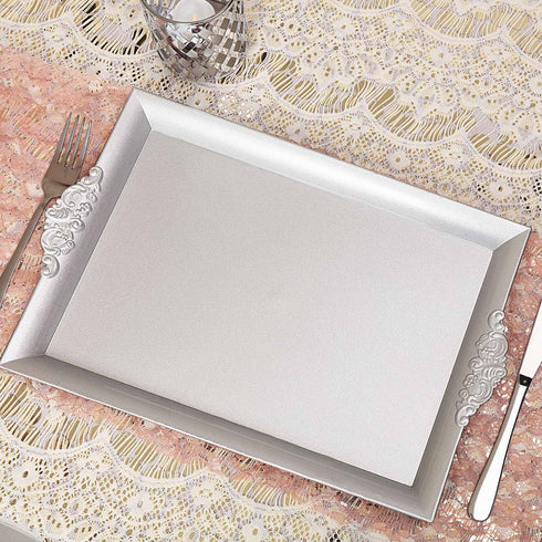 charger plates, charger trays, acrylic serving trays