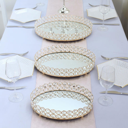 "12"" x 8"" Gold Metal Decorative Serving Tray - Oval Crystal Beaded Mirrored Vanity Tray"