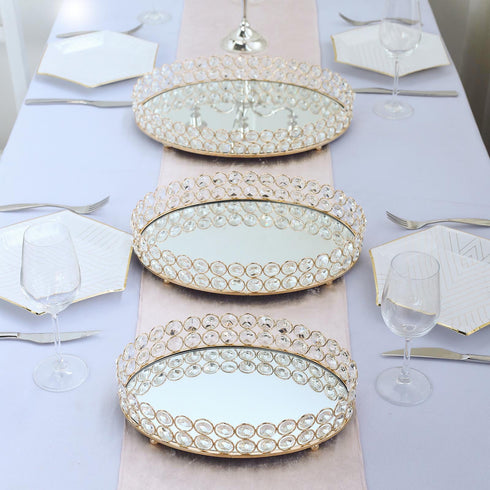 "14"" x 10"" Gold Metal Crystal Beaded Decorative Serving Tray 
