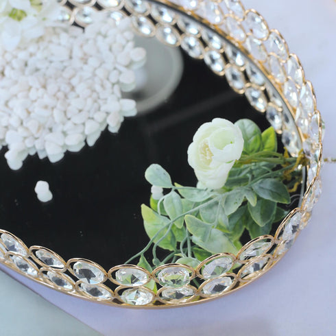 "14"" x 10"" Gold Metal Decorative Serving Tray - Oval Crystal Beaded Mirrored Vanity Tray"