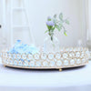 "16"" x 12"" Gold Metal Decorative Serving Tray - Oval Crystal Beaded Mirrored Vanity Tray"