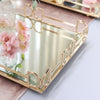"Set of 2 - Gold Metal Decorative Serving Trays - Rectangle Mirrored Vanity Trays - 13""x9"" - 14""x10"""