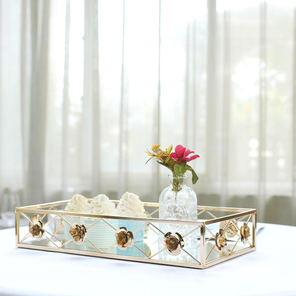 "Set of 2 - Gold Metal Decorative Serving Trays - Floral Bordered Rectangle Mirrored Vanity Trays - 19""x12"" - 15""x8"""