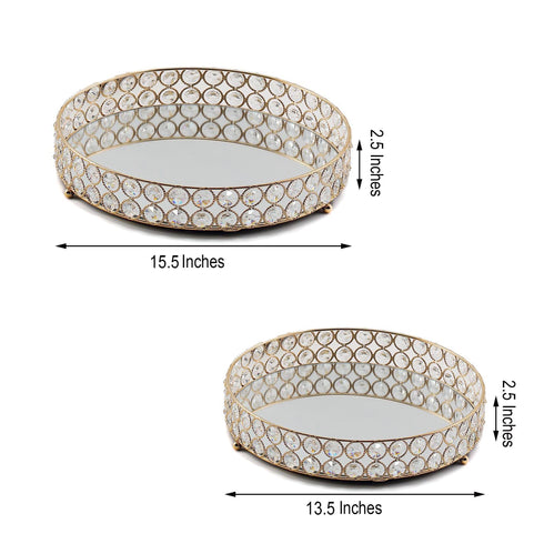 "Set of 2 - Gold Metal Crystal Beaded Decorative Serving Trays - Round Mirrored Vanity Trays - 15"" - 13"""