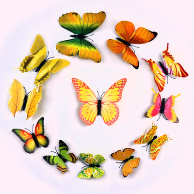 12 Pack 3d Butterfly Wall Decals Stickers Diy Yellow Collection