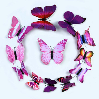 12 Pack 3d Butterfly Wall Decals Stickers Diy Purple Collection