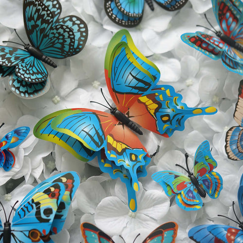 12 Pack 3D Double Wing DIY Butterfly Wall Decoration Stickers - Blue Collection