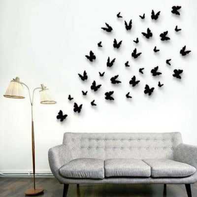 12 Pack 3D Double Wing DIY Butterfly Wall Decoration Stickers - Red Collection