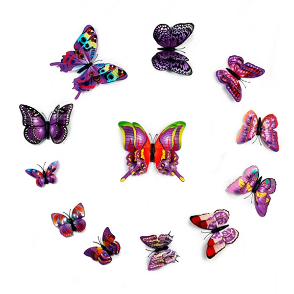 12 Pack Double Wing 3D Butterfly Wall Decals Stickers DIY - Purple Collection