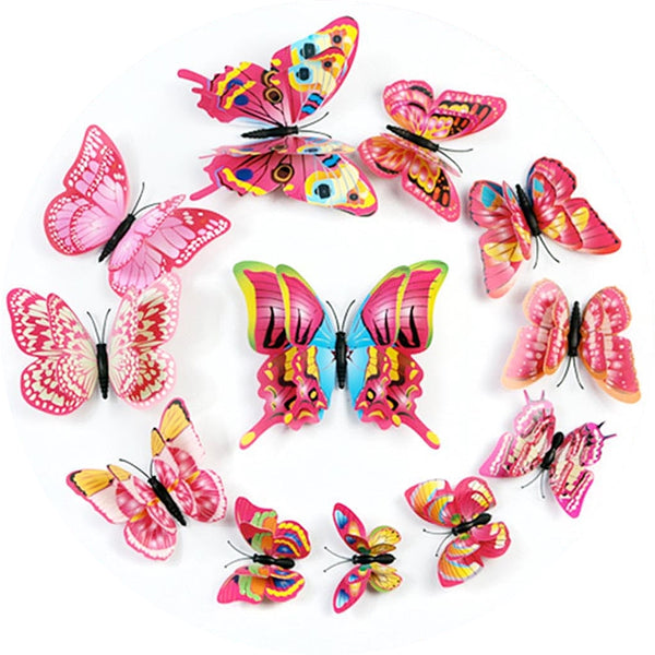 12 Pack Double Wing 3D Butterfly Wall Decals Stickers DIY - Fushia Collection