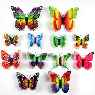 12 Pack Double Wing 3D Butterfly Living Room Wall Decals Stickers ...