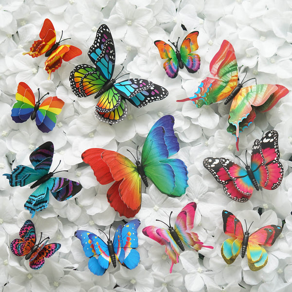 12 Pack Double Wing 3D Butterfly Wall Decals Stickers DIY - Summer Collection