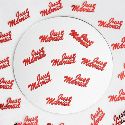 Metallic Foil Wedding-Party Just Married Confetti - 300 PCS-Red