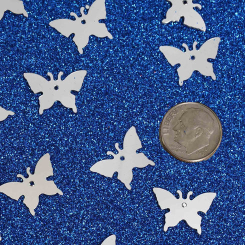 Metallic Foil Wedding-Party Butterfly Confetti - 300 PCS- Silver
