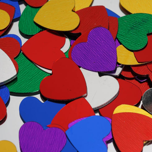 Dreamy Metallic Foil Wedding-Party Heart Confetti Sprinkles- 300 PCS-Assorted