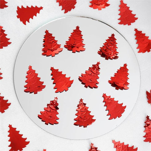 Metallic Foil Christmas Tree Confetti-300PCS-Red