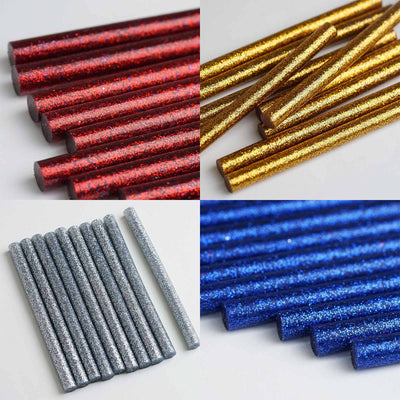 "Glitter Hot Melt Glue Sticks - 7mm x 4"" - Gold - 10pcs"