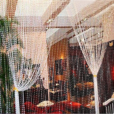 20FT x 3FT Clear Crystal Strands Curtain Backdrop Decoration - Metal Rod Top