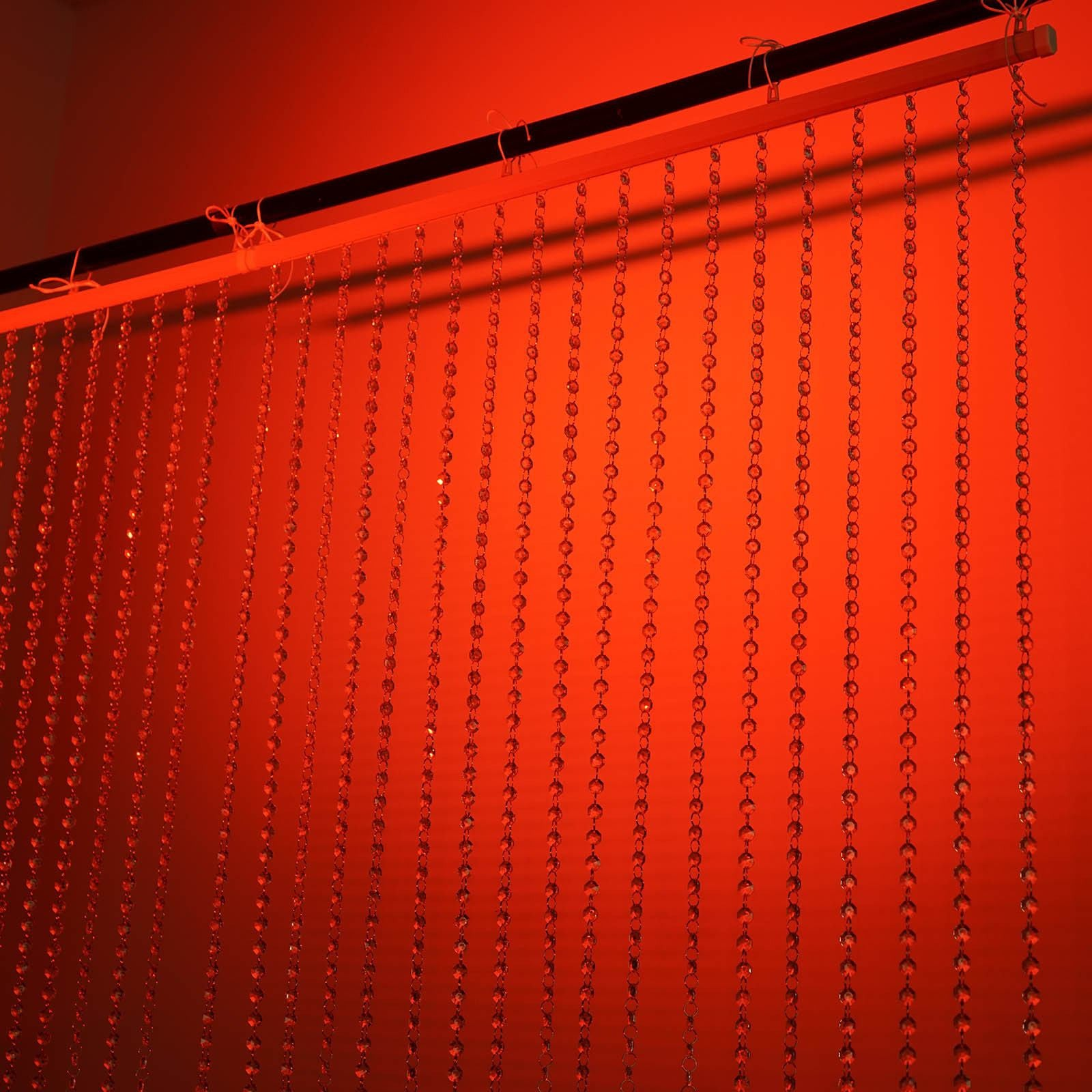... 20FT X 3FT Clear Crystal Strands Curtain Backdrop Decoration   Metal Rod  Top ...