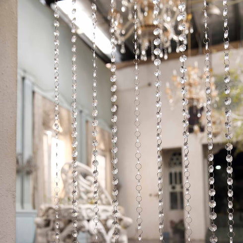 8ft Crystal Diamond Chain Curtain with Plastic Rod and Adjustable Hooks