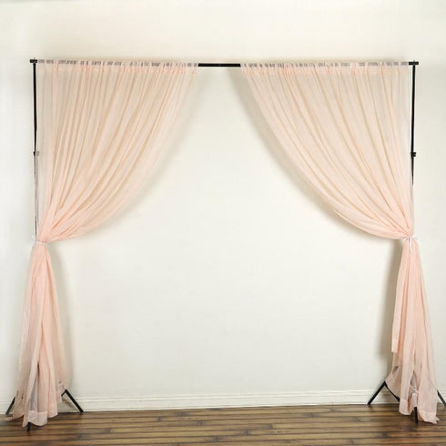 Pack of 2 | 5FTx10FT Blush | Rose Gold Fire Retardant Sheer Organza Premium Curtain Panel Backdrops With Rod Pockets