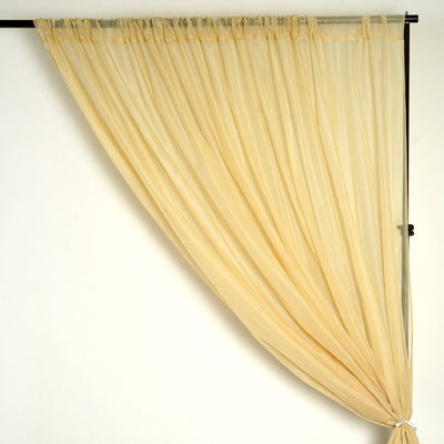 10FT Fire Retardant Champagne Sheer Curtain Panel Backdrops With Rod Pockets - Premium Collection