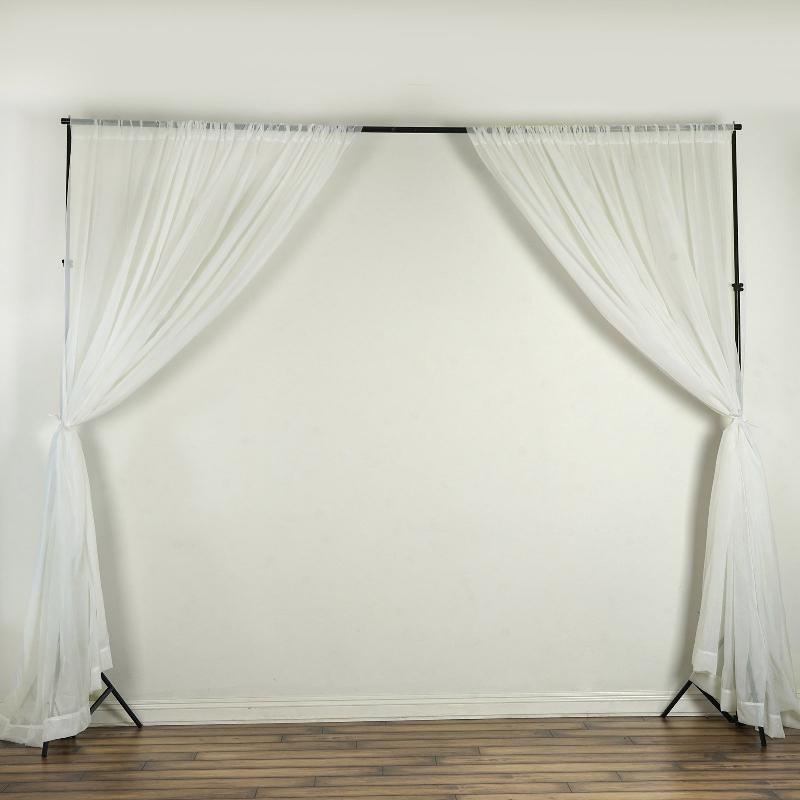 10FT Fire Retardant Ivory Sheer Voil Curtain Panel Backdrop - Premium Collection