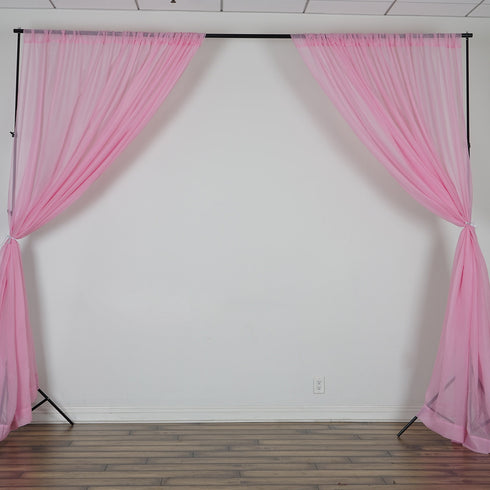 10FT  Premium Fire Retardant Pink Sheer Voil Curtain Panel Backdrop - Premium Collection