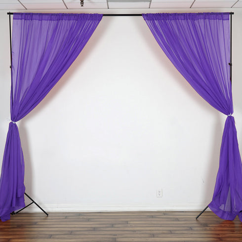 10FT  Premium Fire Retardant Purple Sheer Voil Curtain Panel Backdrop - Premium Collection