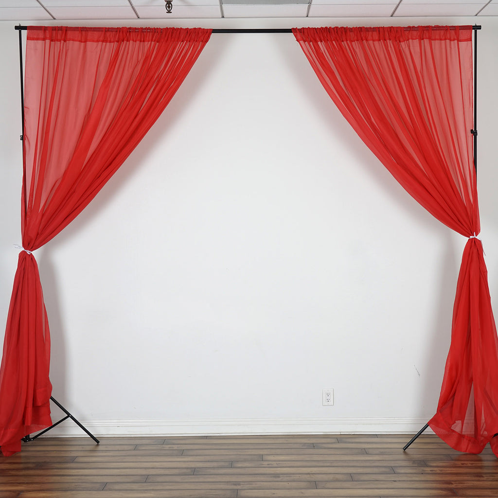 10FT  Premium Fire Retardant Red Sheer Voil Curtain Panel Backdrop - Premium Collection