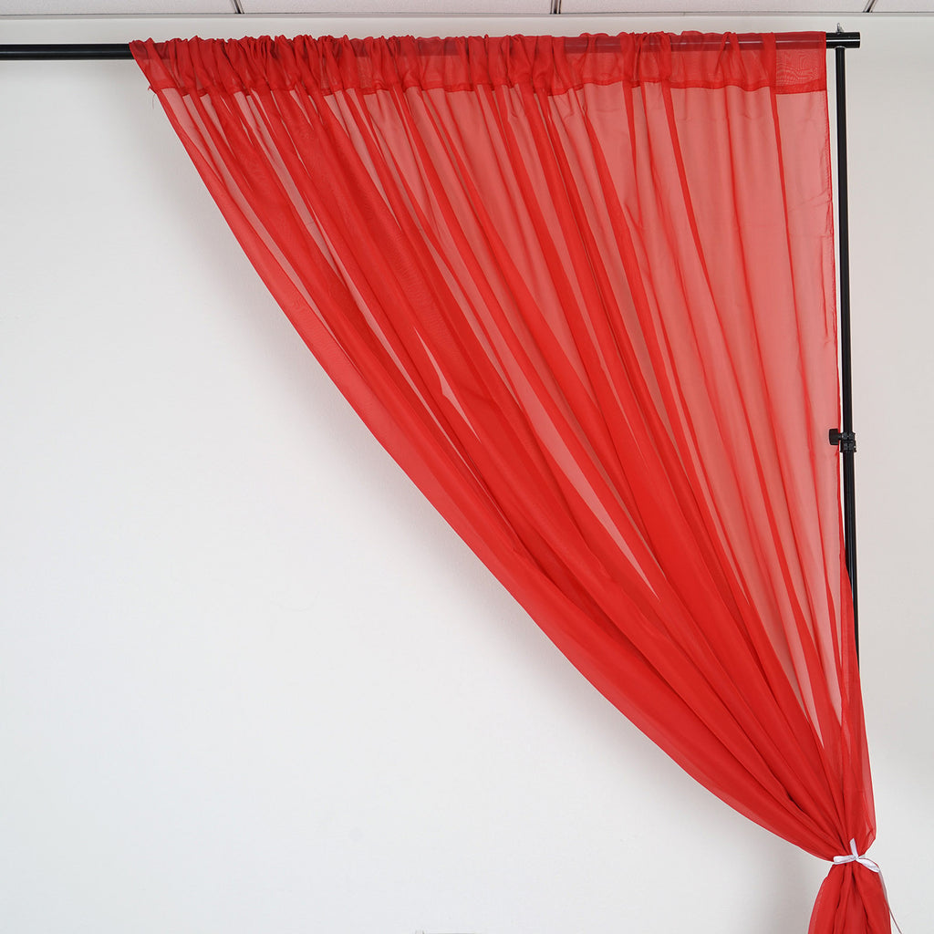 Red Window Curtain Panels Sale: 10FT Fire Retardant Red Sheer Curtain Panel Backdrops