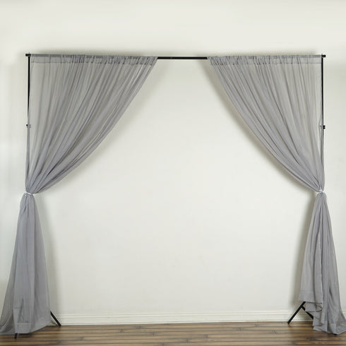 Pack of 2 | 5FTx10FT Silver Fire Retardant Sheer Organza Premium Curtain Panel Backdrops With Rod Pockets