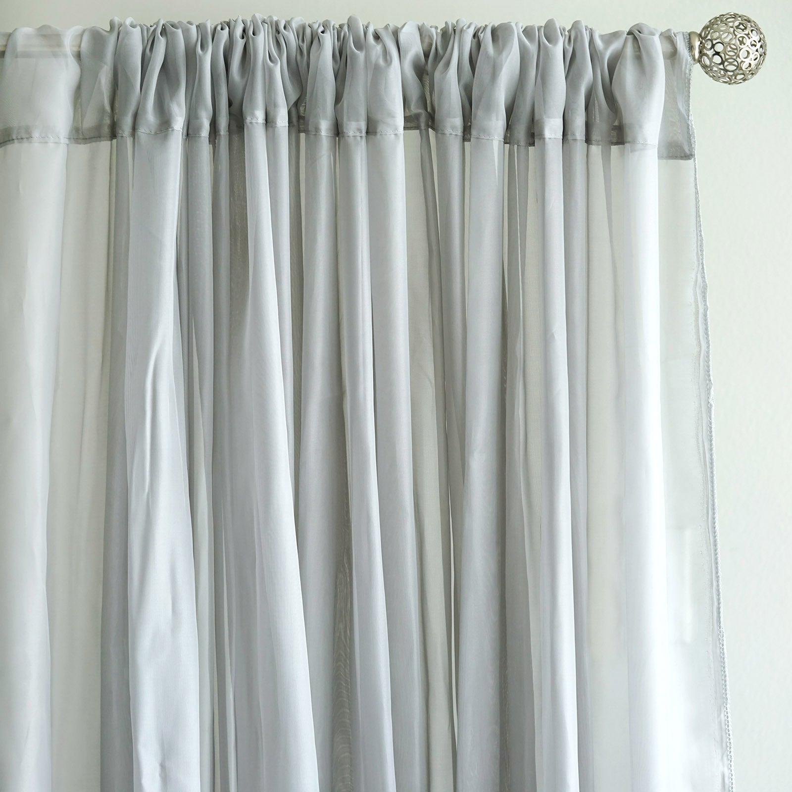 10FT Fire Retardant Silver Sheer Curtain Panel Backdrops With Rod Pockets