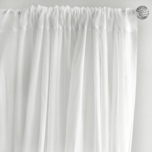 Pack of 2 | 5FTx10FT White Fire Retardant Sheer Organza Premium Curtain Panel Backdrops With Rod Pockets