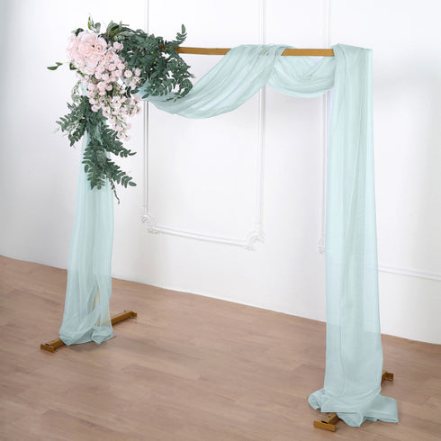 18Ft | Ice Blue Sheer Organza Curtain Panels, Window Scarf Valance Wedding Arch Draping Fabric
