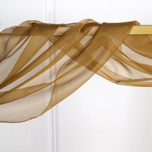 18Ft | Gold Sheer Organza Curtain Panels, Window Scarf Valance Wedding Arch Draping Fabric