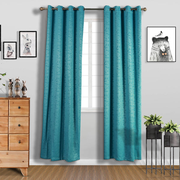 "Pack of 2 | 52""x108"" Teal Embossed Thermal Blackout Curtains With Chrome Grommet Window Treatment Panels"
