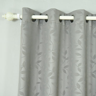 "Blackout Curtains Embossed 52x64"" Charcoal Grey Pack of 2 Thermal Insulated With Chrome Grommet Window Treatment panels"