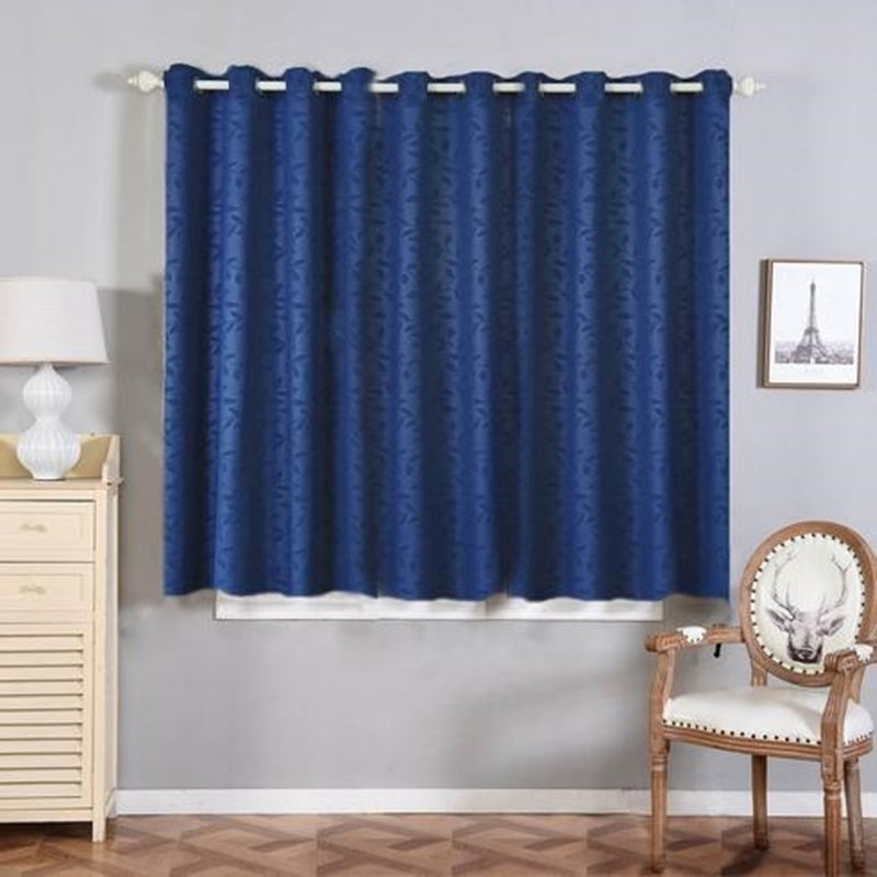 Blackout Curtains Embossed 52x64 Navy Blue Pack Of 2 Thermal