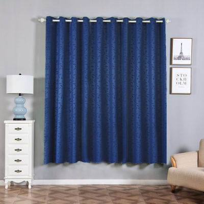 "2 Pack | 52""x84"" Navy Blue Embossed Thermal Blackout Curtains With Chrome Grommet Window Treatment Panels"