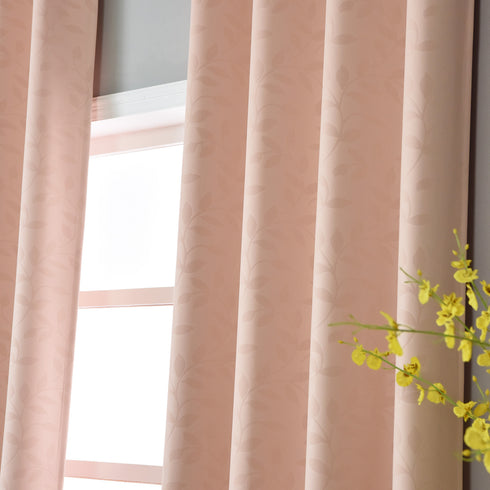 "Blackout Curtains Embossed 52x96"" Blush Pack of 2 Thermal Insulated With Chrome Grommet Window Treatment panels"