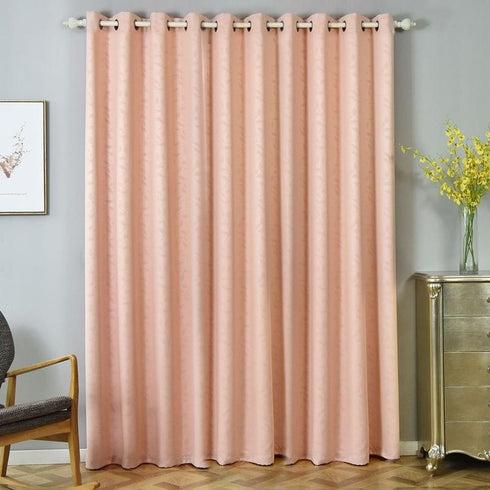 "2 Pack | 52""x96"" Embossed Thermal Blackout Curtains With Chrome Grommet Window Treatment Panels - Rose Gold 