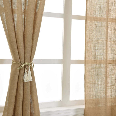 "2 Pack 52x64"" Eco Friendly Burlap Jute Rustic Home Curtain Backdrop Panels With Rod Pocket"